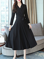 billige -Kvinders slanke sving kjole midi v hals