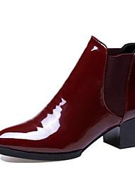 Недорогие -Жен. Армейские ботинки Полиуретан Зима Ботинки Блочная пятка Круглый носок Черный / Вино