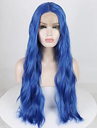 Недорогие -Синтетические кружевные передние парики Жен. Волнистый / Волнистые Синий Средняя часть 180% Человека Плотность волос Искусственные волосы 18-26 дюймовый Мягкость / Регулируется / Жаропрочная Синий