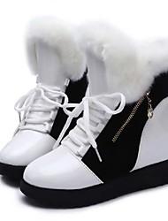 Недорогие -Жен. Зимние сапоги Полиуретан Осень На каждый день Ботинки Туфли на танкетке Круглый носок Сапоги до середины икры Белый / Черный