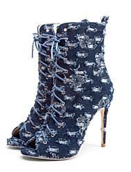 Недорогие -Жен. Cowboy / Western Boots Деним Весна лето Винтаж Ботинки На шпильке Открытый мыс Сапоги до середины икры Синий