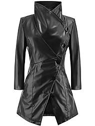 Недорогие -Жен. Кожаные куртки Уличный стиль / Изысканный - Однотонный Пэчворк