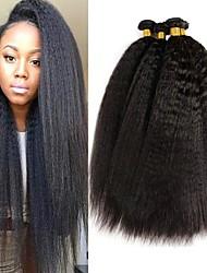 Недорогие -4 Связки Бразильские волосы Яки 8A Натуральные волосы Человека ткет Волосы Пучок волос One Pack Solution 8-28 дюймовый Естественный цвет Ткет человеческих волос