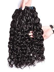 Недорогие -4 Связки Бразильские волосы Волнистые 8A Натуральные волосы Необработанные натуральные волосы Подарки Человека ткет Волосы Сувениры для чаепития 8-28 дюймовый Естественный цвет Ткет человеческих волос