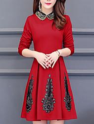 Недорогие -женский плюс размер оболочки платье выше воротник рубашки колена
