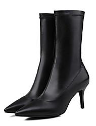 billige -Dame Fashion Boots Nappalæder Sommer Støvler Stilethæle Hvid / Sort