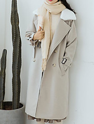 billige -kvinder går ud lang slank jakke - farveblok