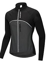 abordables -WOSAWE Unisexe Manches Longues Veste de Cyclisme - Noir Cyclisme Shirt Maillot, Pare-vent Etanche Garder au chaud, Hiver, 100 % Polyester / Elastique / Doublure Polaire