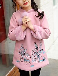 Недорогие -Дети Девочки Цветочный принт / Пэчворк Длинный рукав Платье