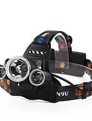baratos -Lanternas de Cabeça Farol para Bicicleta LED Cree XM-L T6 3 Emissores 4800 lm 4.0 Modo Iluminação Com Pilhas e Carregador Impermeável, Recarregável, Visão Nocturna Campismo / Escursão