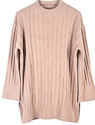 Недорогие -длинный пуловер с длинным рукавом для женщин - сплошной цветной круглый шею