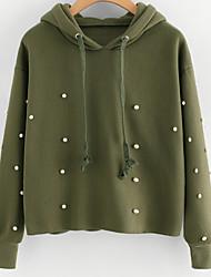 billige -Dame langærmet hættetrøje - perle / solid farvet hætte