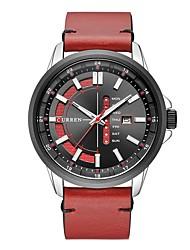 Недорогие -CURREN Муж. Спортивные часы Японский Японский кварц Кожа Черный / Тёмно-зелёный 30 m Защита от влаги Календарь Фосфоресцирующий Аналоговый На каждый день Мода - Черный / Красный Темно-зеленый