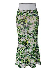 baratos -saias das mulheres mais tamanho maxi saias bodycon - bloco de cor / floral cintura alta
