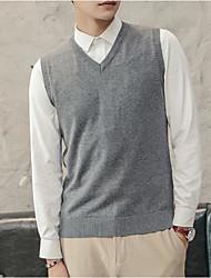 Недорогие -мужской выход длинный рукав тонкий жилет - сплошной цветной шея