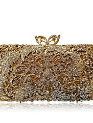 Недорогие -Жен. Мешки Сплав Вечерняя сумочка Кристаллы / С отверстиями Сплошной цвет Золотой / Серебряный
