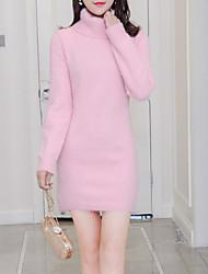 Недорогие -женский выход тонкий свитер / оболочка платье миди водолазки