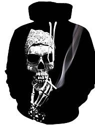 baratos -hoodie da luva longa do tamanho dos homens mais - caráter / crânio encapuçado