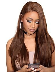 Недорогие -человеческие волосы Remy Полностью ленточные Лента спереди Парик Ассиметричная стрижка Прически Венди Вилламс стиль Бразильские волосы Прямой Естественный прямой Коричневый Парик 130% 150% 180