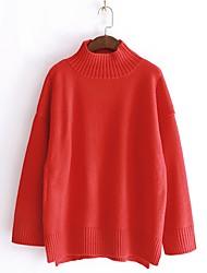 Недорогие -Жен. Повседневные Однотонный Длинный рукав Обычный Пуловер Красный / Бежевый / Хаки Один размер