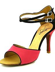 baratos -Mulheres Sapatos de Dança Latina Sintéticos Salto Salto Alto Magro Sapatos de Dança Amarelo / Rosa claro / Vermelho Escuro / Espetáculo / Couro / Ensaio / Prática