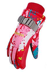 Недорогие -Лыжные перчатки Зимние Детские Полный палец Сохраняет тепло С защитой от ветра Пригодно для носки Дышащий Лыжи Водонепроницаемый материал