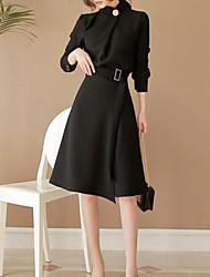 billige -kvinders slanke kappe kjole knælængde stå
