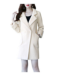 Недорогие -длинное пальто женщин - сплошной цвет