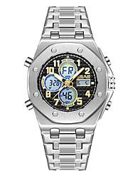 Недорогие -Муж. Спортивные часы электронные часы Японский Кварцевый Нержавеющая сталь Серебристый металл Защита от влаги Календарь Секундомер Аналого-цифровые Кольцеобразный минималист -  / Два года / Два года