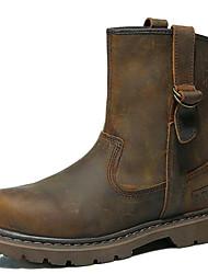 billiga -Dam Fashion Boots Nappaskinn Vinter Vintage / Ledigt Stövlar Platt klack Stövletter Brun