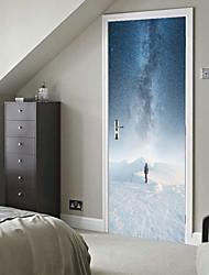 abordables -Autocollants de porte - Autocollants muraux 3D Abstrait / Paysage Salle de séjour / Chambre à coucher