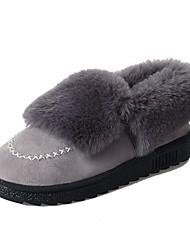 abordables -Femme Chaussures de confort Daim Hiver Mocassins et Chaussons+D6148 Talon Plat Bout rond Bottine / Demi Botte Noir / Gris