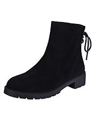 Недорогие -Жен. Fashion Boots Замша Зима Ботинки На толстом каблуке Круглый носок Ботинки Черный
