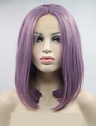 voordelige -Pruik Lace Front Synthetisch Haar Losse krul Paars Bobkapsel Donker paars 130% Human Hair Density Synthetisch haar 12 inch(es) Dames Dames Paars Pruik Gemiddelde Lengte Kanten Voorkant Sylvia / Ja