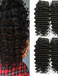 ieftine -4 pachete Păr Brazilian Buclat 8A Păr Natural Accesoriu de Păr Umane tesaturi de par Extensii 8-28 inch Negru Culoare naturală Umane Țesăturile de par Moale Mătăsos Clasic Umane extensii de par Unisex