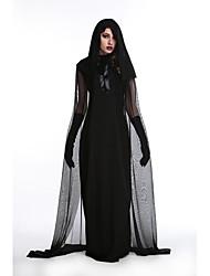 Недорогие -ведьма Платья Косплэй Kостюмы Жен. Взрослые Сетка Хэллоуин Хэллоуин Фестиваль / праздник Инвентарь Черный Тонкая прозрачная ткань Halloween
