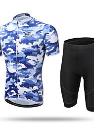 abordables -XINTOWN Homme Manches Courtes Maillot et Cuissard de Cyclisme - Bleu camouflage Vélo Cuissard  / Short / Maillot / Ensemble de Vêtements, Respirable, La peau 3 densités, Séchage rapide, Bandes