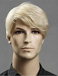 Недорогие -Парики из искусственных волос Естественный прямой Стиль Ассиметричная стрижка Без шапочки-основы Парик Золотистый Светло-золотой Искусственные волосы 22 дюймовый Муж. Для вечеринок Золотистый Парик