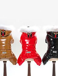 Недорогие -Собаки Пуховики Одежда для собак Однотонный Черный / Кофейный / Красный Терилен / Пух Костюм Для домашних животных Универсальные Сохраняет тепло / Защита от ветра