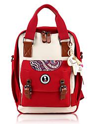 Недорогие -Жен. Мешки холст рюкзак Узоры / принт Оранжевый / Красный