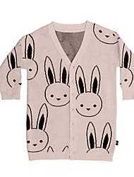 Недорогие -Дети Девочки Классический / Уличный стиль Повседневные Rabbit Геометрический принт С принтом Длинный рукав Хлопок Тренч Розовый