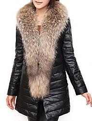 billiga -Dam Dagligen / Fest / cocktail Sexig / Sofistikerat Vinter Lång Fur Coat, Färgblock Rund hals Långärmad Ylle / Fuskpäls / PU Lappverk Svart XL / XXL / XXXL / Smal