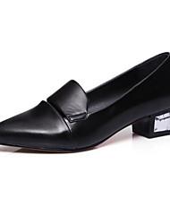 abordables -Femme Chaussures de confort Polyuréthane Eté Mocassins et Chaussons+D6148 Block Heel Noir / Rouge