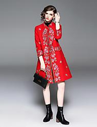 Недорогие -Жен. Пальто Классический / Шинуазери (китайский стиль) - Цветочные / ботанический Вышивка