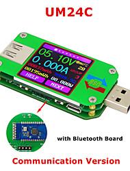 Недорогие -um24c usb 2.0 цвет lcd дисплей тестер напряжение тока измеритель вольтметр amperimetro зарядка аккумулятора измерение сопротивления кабеля с Bluetooth