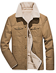 Недорогие -Муж. Большие размеры Куртка Классический / Уличный стиль - Однотонный / Современный стиль, Искусственный мех / Хлопок / Длинный рукав