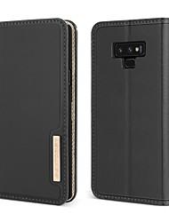 Недорогие -BENTOBEN Кейс для Назначение SSamsung Galaxy Note 9 Защита от удара / со стендом / Флип Чехол Однотонный Твердый Настоящая кожа / ПК для Note 9