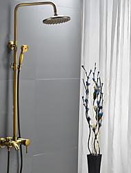 abordables -Robinet de douche - Traditionnel Laiton Antique Système de douche Soupape céramique / Mitigeur Trois trous