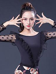 abordables -Danse de Salon Hauts Femme Utilisation Soie Glacée Ruché / Combinaison Manches Longues Haut