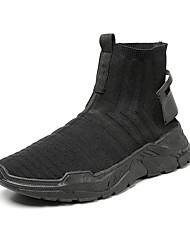 abordables -Homme Chaussures de confort Maille Automne Décontracté Basket Augmenter la hauteur Noir / Noir / blanc / Noir / Rouge
